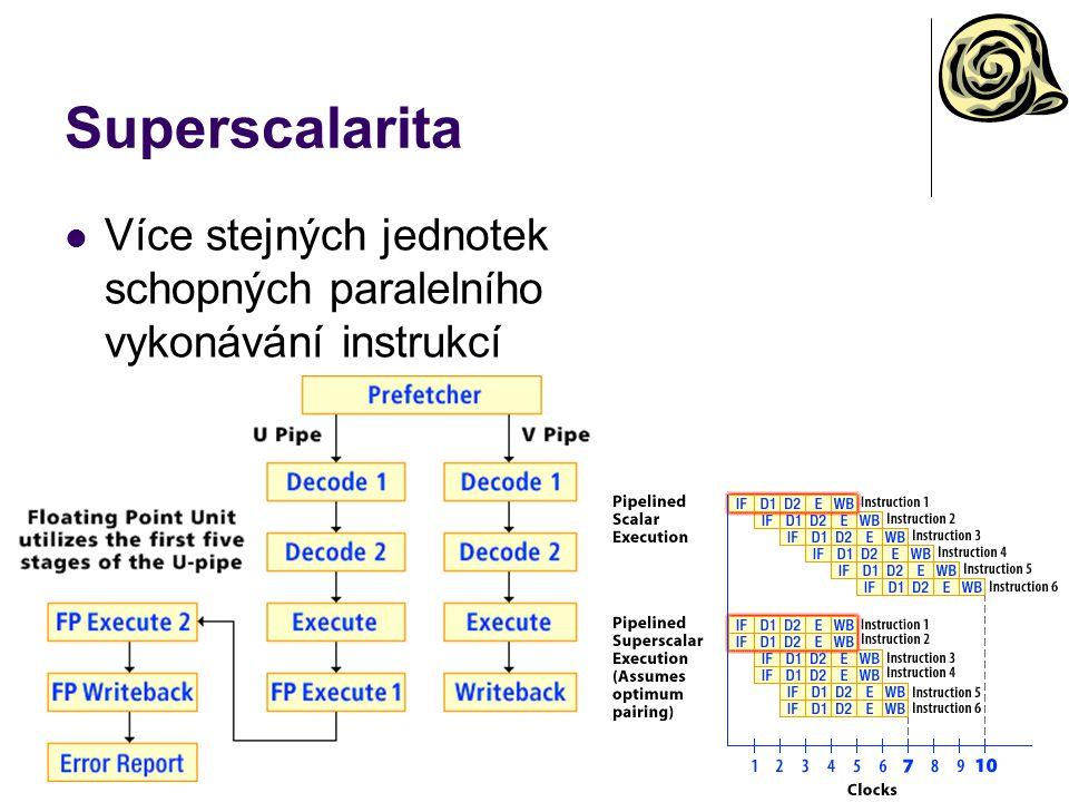 Superscalarita Více stejných jednotek schopných paralelního vykonávání instrukcí