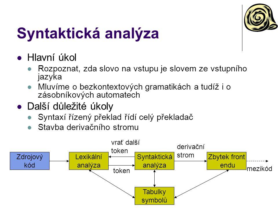 vrať další token Syntaktická analýza Hlavní úkol Rozpoznat, zda slovo na vstupu je slovem ze vstupního jazyka Mluvíme o bezkontextových gramatikách a