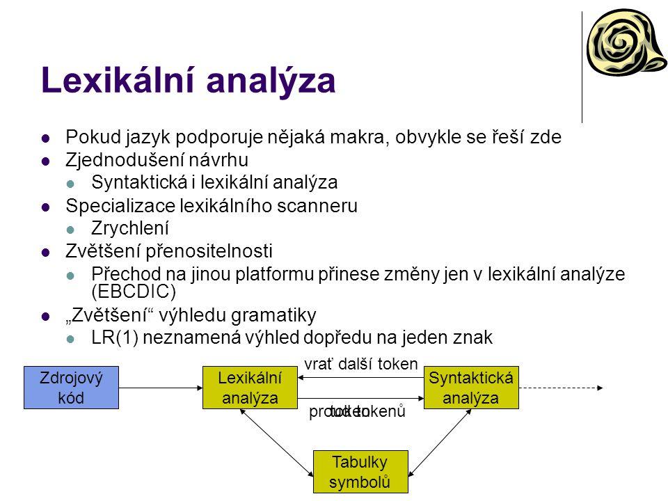vrať další token Lexikální analýza Pokud jazyk podporuje nějaká makra, obvykle se řeší zde Zjednodušení návrhu Syntaktická i lexikální analýza Special