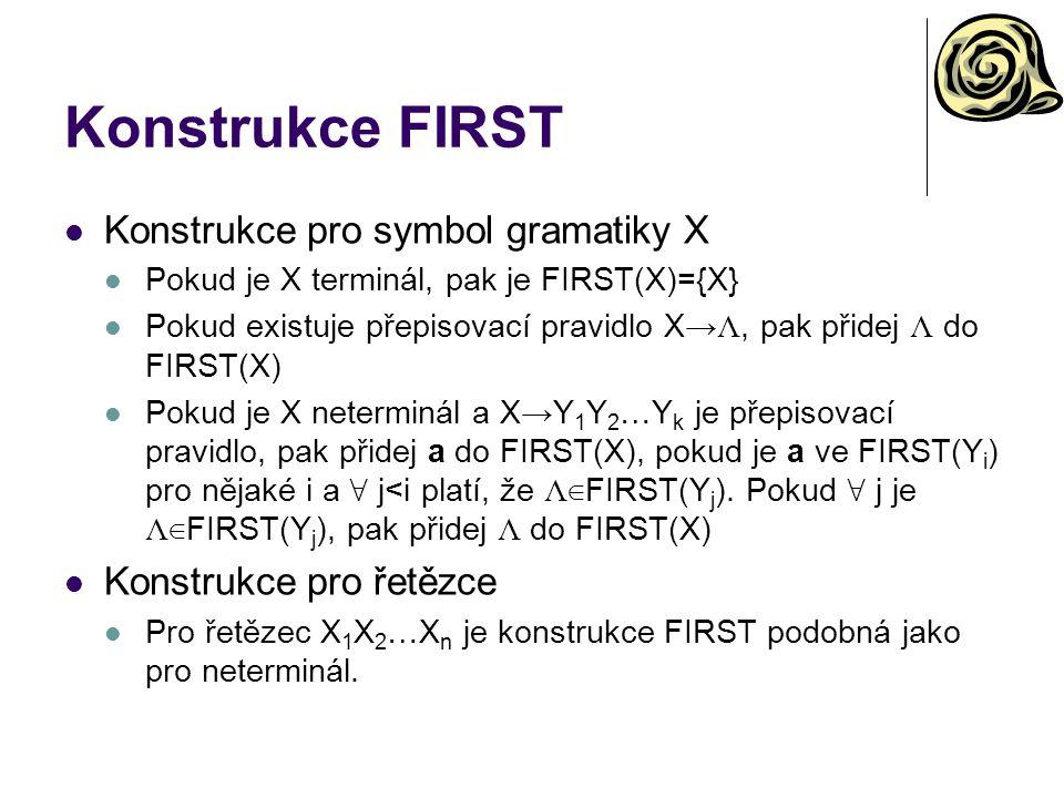 Konstrukce FIRST Konstrukce pro symbol gramatiky X Pokud je X terminál, pak je FIRST(X)={X} Pokud existuje přepisovací pravidlo X→ Λ, pak přidej Λ do