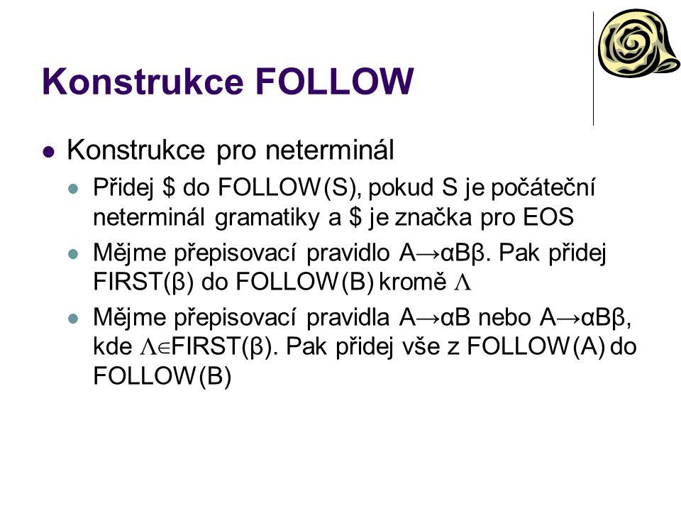 Konstrukce FOLLOW Konstrukce pro neterminál Přidej $ do FOLLOW(S), pokud S je počáteční neterminál gramatiky a $ je značka pro EOS Mějme přepisovací p