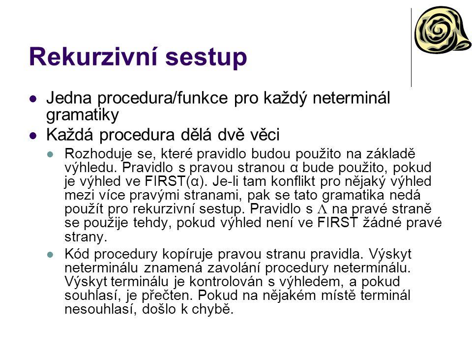 Rekurzivní sestup Jedna procedura/funkce pro každý neterminál gramatiky Každá procedura dělá dvě věci Rozhoduje se, které pravidlo budou použito na zá