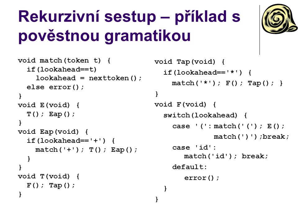 Rekurzivní sestup – příklad s pověstnou gramatikou void match(token t) { if(lookahead==t) lookahead = nexttoken(); else error(); } void E(void) { T(); Eap(); } void Eap(void) { if(lookahead== + ) { match( + ); T(); Eap(); } void T(void) { F(); Tap(); } void Tap(void) { if(lookahead== * ) { match( * ); F(); Tap(); } } void F(void) { switch(lookahead) { case ( :match( ( ); E(); match( ) );break; case id : match( id ); break; default: error(); }