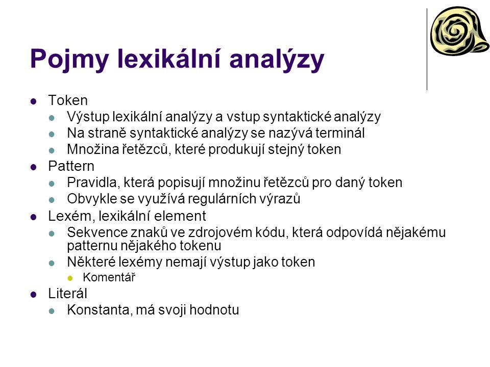 Pojmy lexikální analýzy Token Výstup lexikální analýzy a vstup syntaktické analýzy Na straně syntaktické analýzy se nazývá terminál Množina řetězců, k