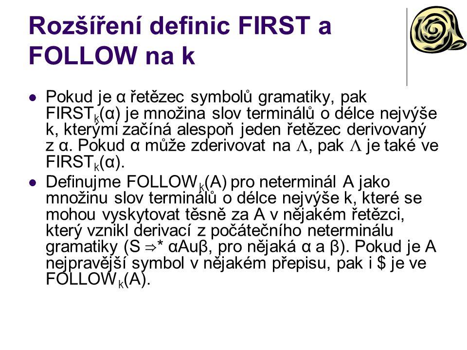 Rozšíření definic FIRST a FOLLOW na k Pokud je α řetězec symbolů gramatiky, pak FIRST k (α) je množina slov terminálů o délce nejvýše k, kterými začín