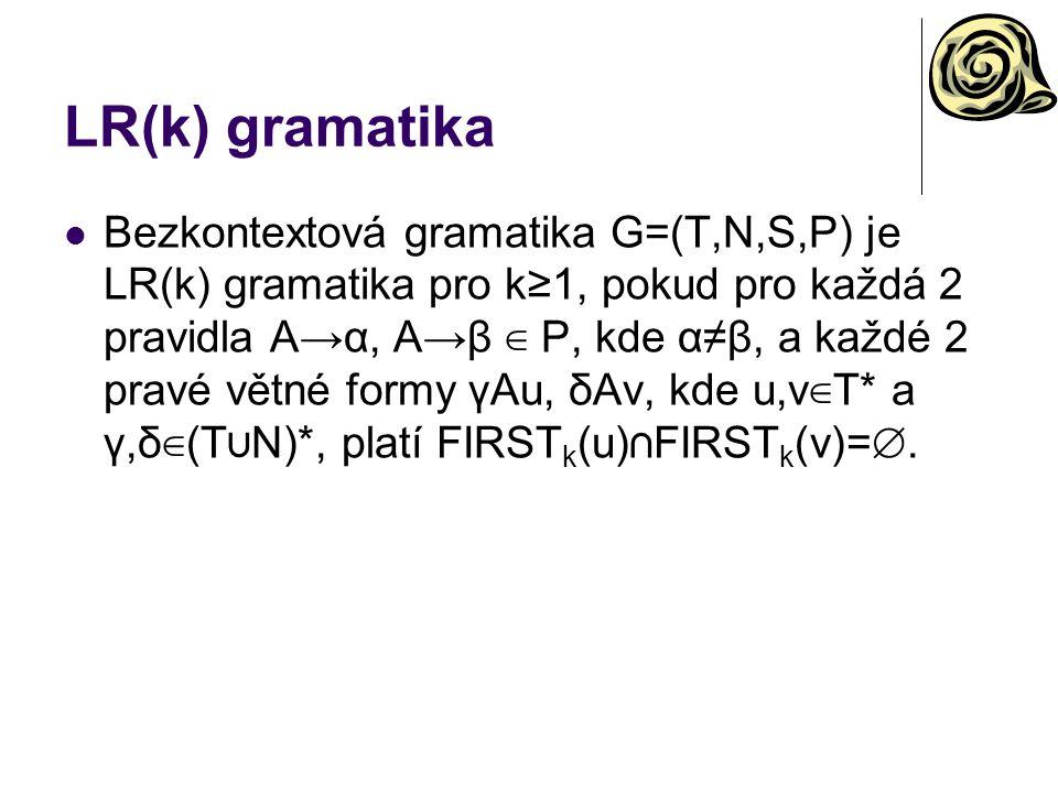 LR(k) gramatika Bezkontextová gramatika G=(T,N,S,P) je LR(k) gramatika pro k ≥ 1, pokud pro každá 2 pravidla A→α, A→β ∈ P, kde α≠β, a každé 2 pravé vě