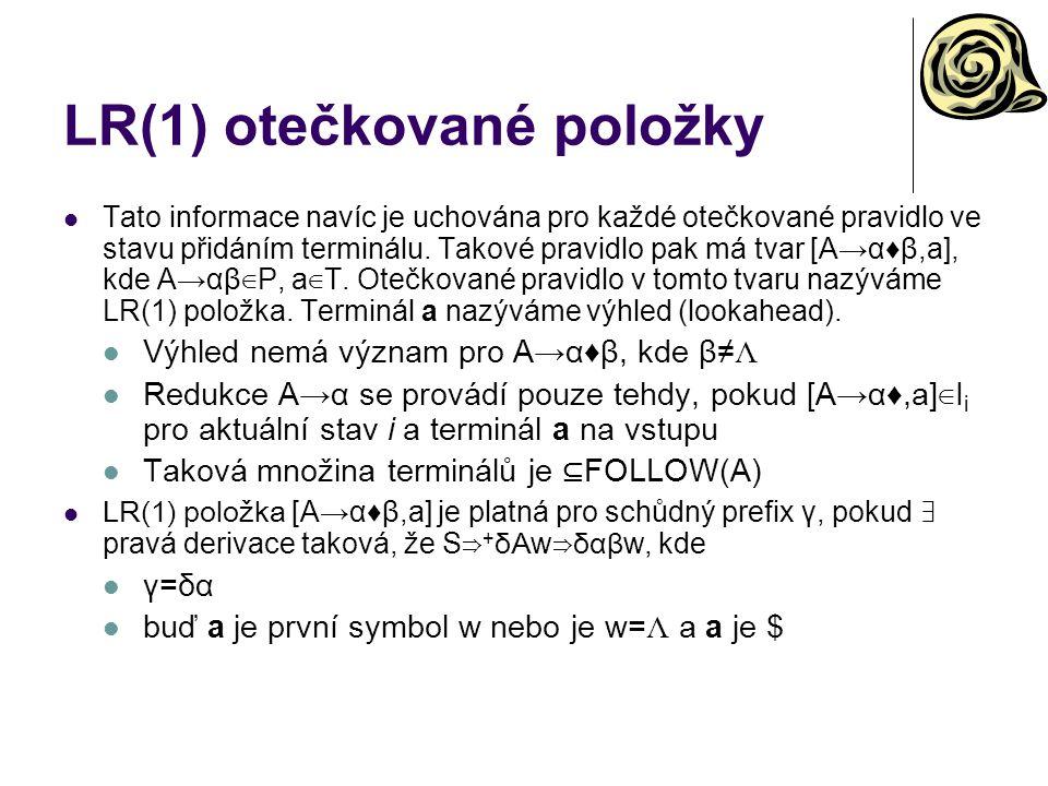 LR(1) otečkované položky Tato informace navíc je uchována pro každé otečkované pravidlo ve stavu přidáním terminálu. Takové pravidlo pak má tvar [A→α♦
