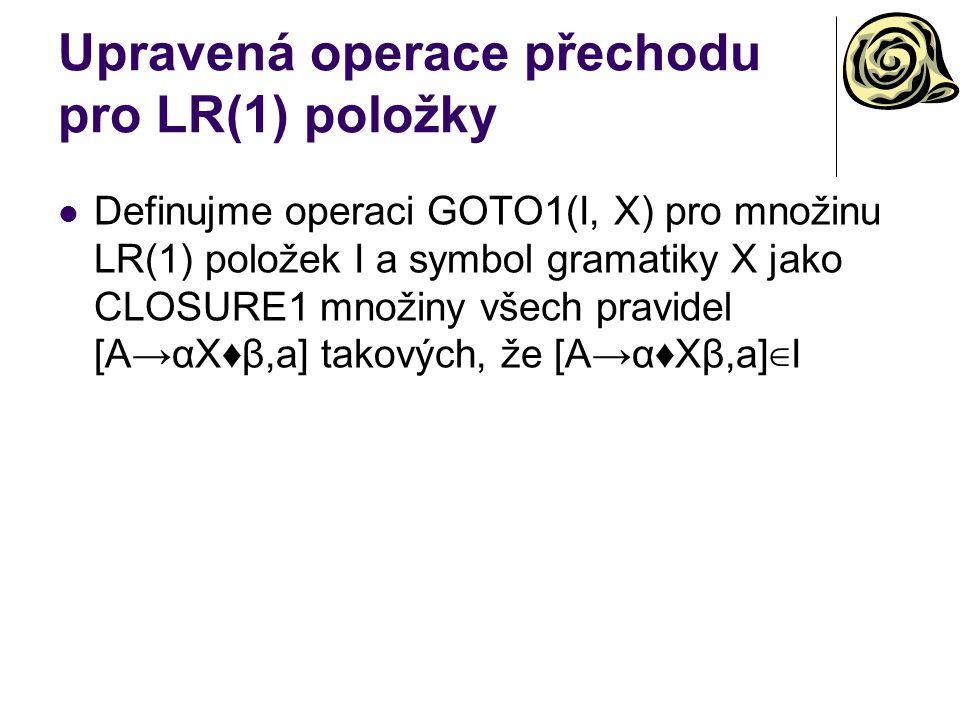 Upravená operace přechodu pro LR(1) položky Definujme operaci GOTO1(I, X) pro množinu LR(1) položek I a symbol gramatiky X jako CLOSURE1 množiny všech