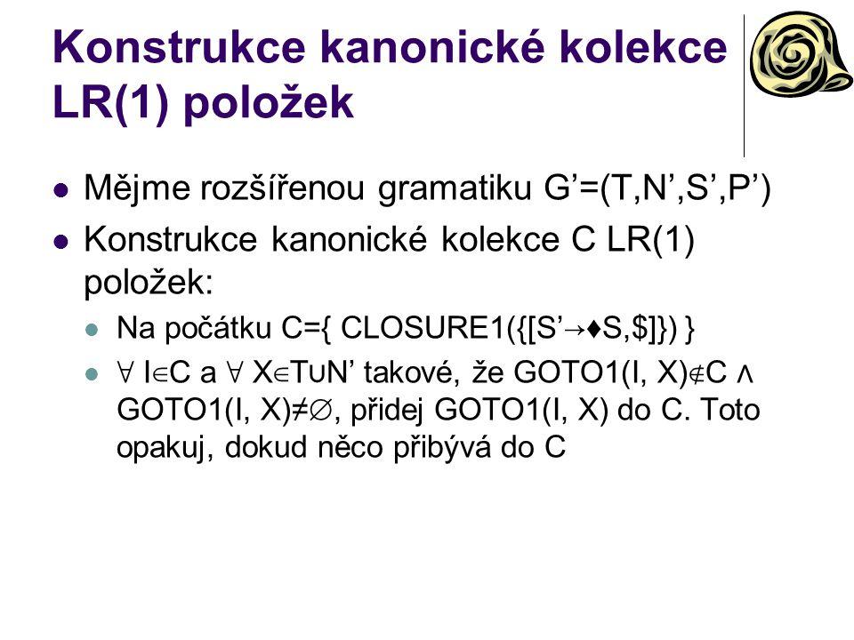 Konstrukce kanonické kolekce LR(1) položek Mějme rozšířenou gramatiku G'=(T,N',S',P') Konstrukce kanonické kolekce C LR(1) položek: Na počátku C={ CLO