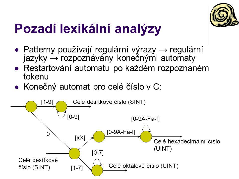Pozadí lexikální analýzy Patterny používají regulární výrazy → regulární jazyky → rozpoznávány konečnými automaty Restartování automatu po každém rozp