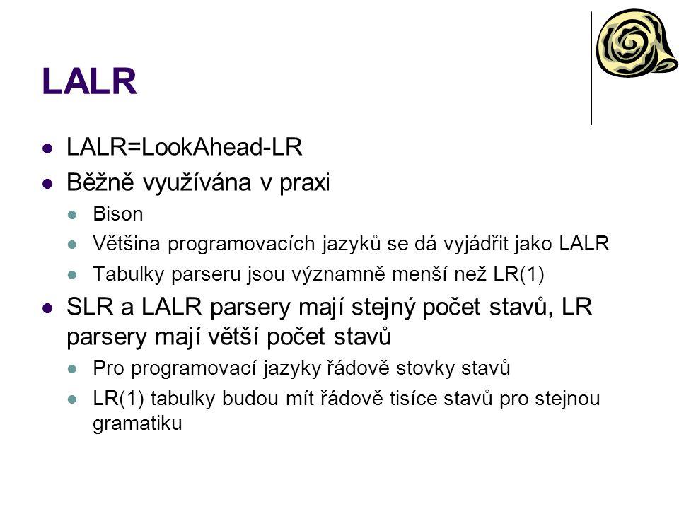 LALR LALR=LookAhead-LR Běžně využívána v praxi Bison Většina programovacích jazyků se dá vyjádřit jako LALR Tabulky parseru jsou významně menší než LR