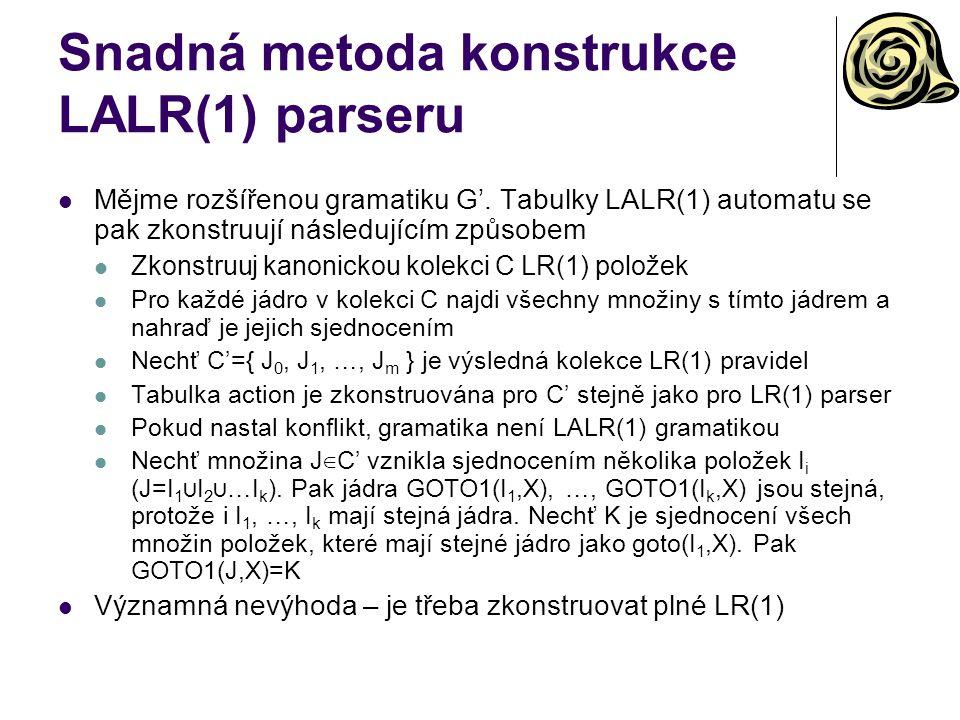 Snadná metoda konstrukce LALR(1) parseru Mějme rozšířenou gramatiku G'. Tabulky LALR(1) automatu se pak zkonstruují následujícím způsobem Zkonstruuj k