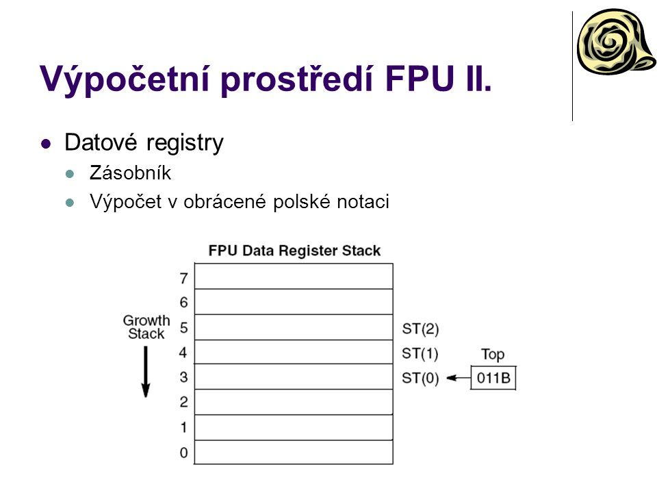 Výpočetní prostředí FPU II. Datové registry Zásobník Výpočet v obrácené polské notaci