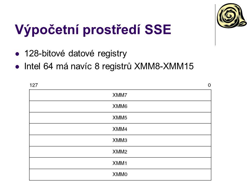 Výpočetní prostředí SSE 128-bitové datové registry Intel 64 má navíc 8 registrů XMM8-XMM15