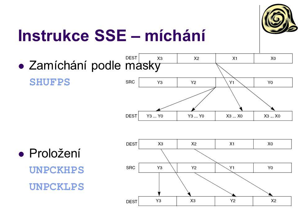 Instrukce SSE – míchání Zamíchání podle masky SHUFPS Proložení UNPCKHPS UNPCKLPS