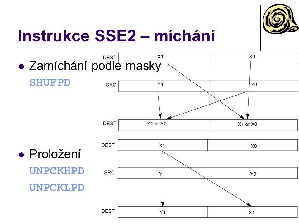 Instrukce SSE2 – míchání Zamíchání podle masky SHUFPD Proložení UNPCKHPD UNPCKLPD