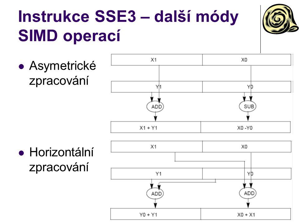 Instrukce SSE3 – další módy SIMD operací Asymetrické zpracování Horizontální zpracování
