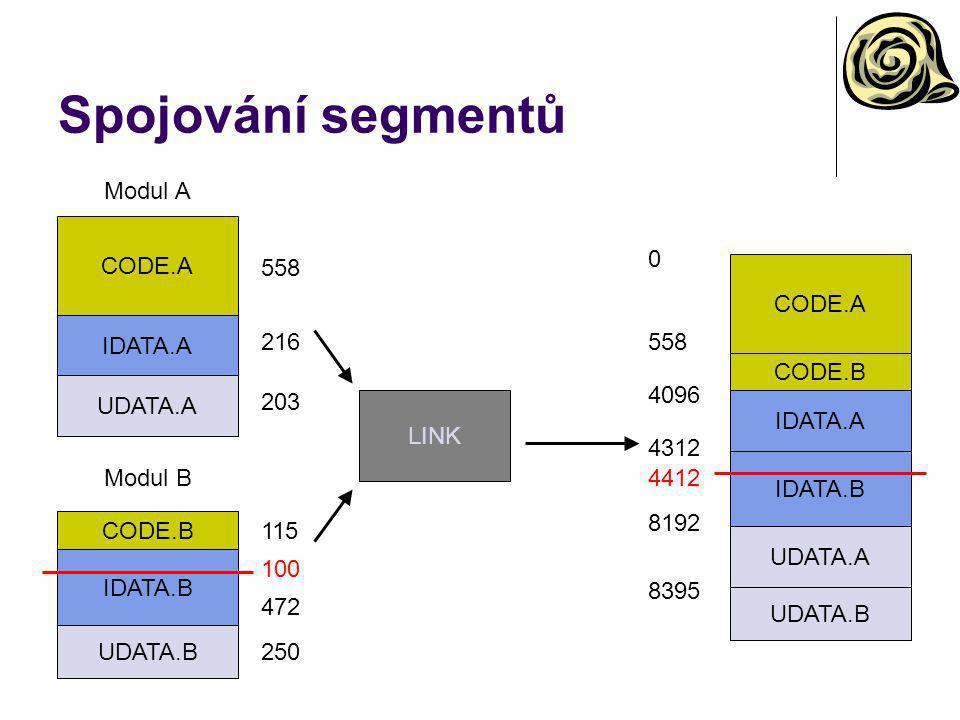 Spojování segmentů CODE.A IDATA.A UDATA.A Modul A CODE.B IDATA.B UDATA.B Modul B CODE.A IDATA.A UDATA.A CODE.B IDATA.B UDATA.B 558 216 203 115 472 250