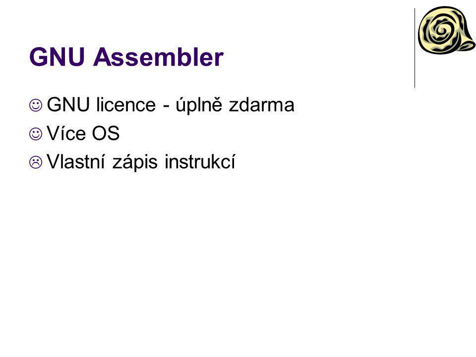 GNU Assembler GNU licence - úplně zdarma Více OS  Vlastní zápis instrukcí