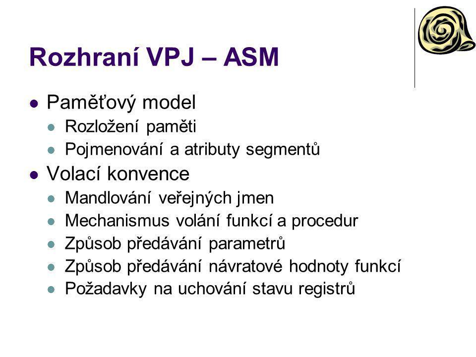 Rozhraní VPJ – ASM Paměťový model Rozložení paměti Pojmenování a atributy segmentů Volací konvence Mandlování veřejných jmen Mechanismus volání funkcí