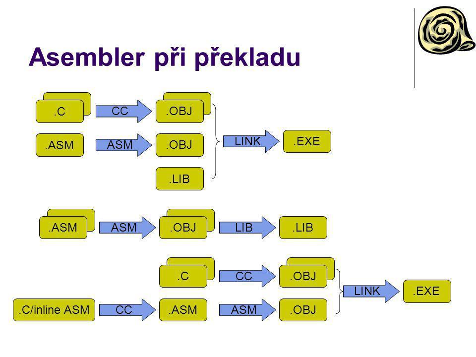 Asembler při překladu.ASMASM.OBJ LIB.LIB.C.ASM CC ASM.OBJ LINK.EXE.LIB.C.ASM CC ASM.OBJ LINK.EXE.C/inline ASMCC