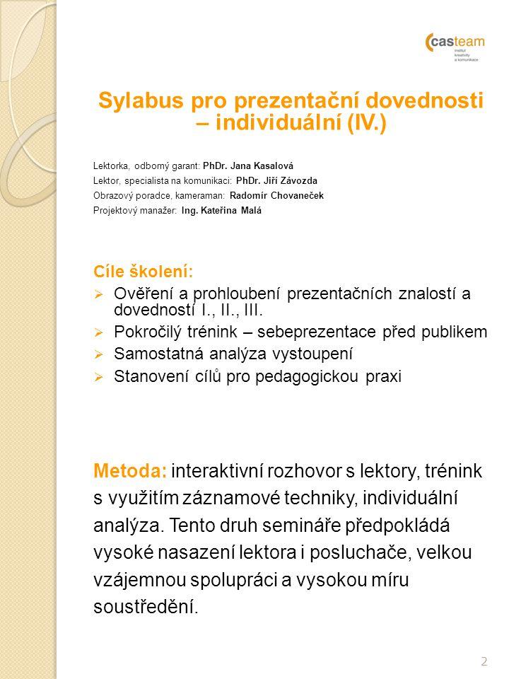 2 Sylabus pro prezentační dovednosti – individuální (IV.) Lektorka, odborný garant: PhDr.