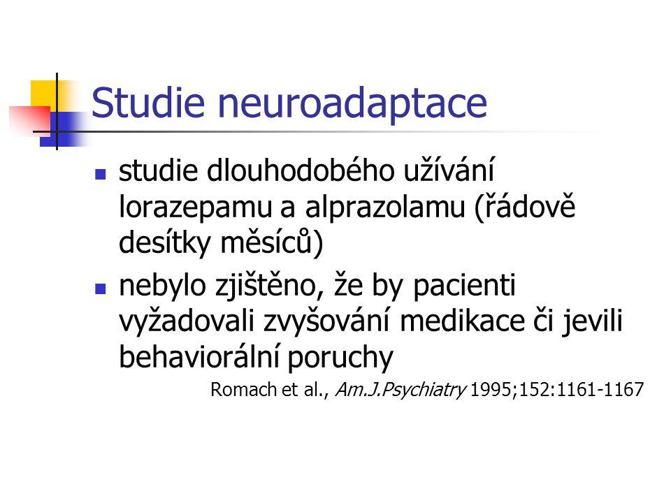 Studie neuroadaptace studie dlouhodobého užívání lorazepamu a alprazolamu (řádově desítky měsíců) nebylo zjištěno, že by pacienti vyžadovali zvyšování medikace či jevili behaviorální poruchy Romach et al., Am.J.Psychiatry 1995;152:1161-1167