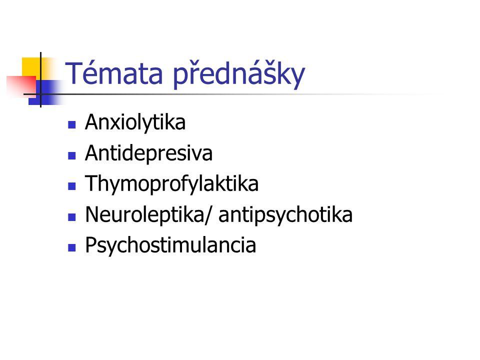 Indikace antidepresiv Obecné indikace antidepresiv Deprese Posttraumatická stressová porucha Hyperkinetická porucha pozornosti (terapie 2.volby) Algické syndromy Narkolepsie Specifické indikace serotoninergních antidepresiv Panická porucha Obsedantně -kompulzivní porucha/syndrom Mentální bulimie Sociální fobie, event.