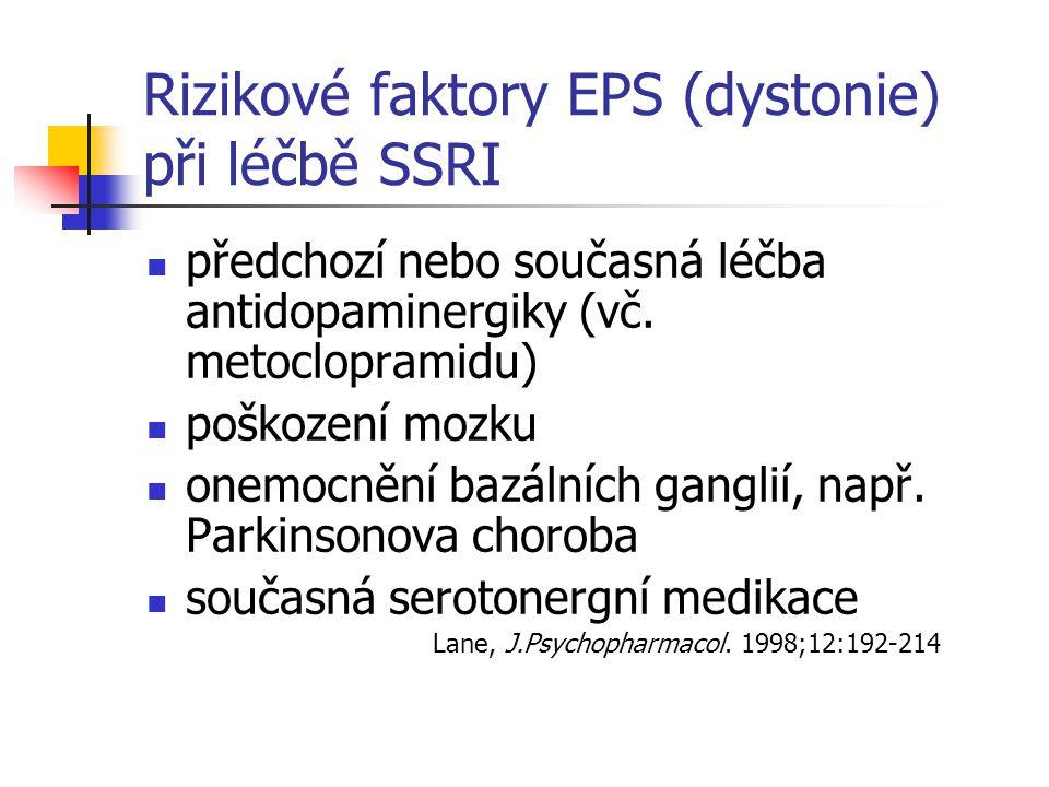 Rizikové faktory EPS (dystonie) při léčbě SSRI předchozí nebo současná léčba antidopaminergiky (vč.