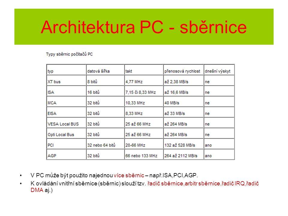 Architektura PC - sběrnice V PC může být použito najednou více sběrnic – např.ISA,PCI,AGP. K ovládání vnitřní sběrnice (sběrnic) slouží tzv. řadič sbě