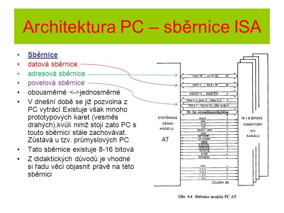 Architektura PC – sběrnice ISA Sběrnice datová sběrnice adresová sběrnice povelová sběrnice obousměrné jednosměrné V dnešní době se již pozvolna z PC