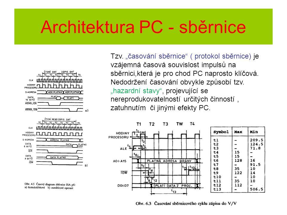 """Architektura PC - sběrnice Tzv. """"časování sběrnice"""" ( protokol sběrnice) je vzájemná časová souvislost impulsů na sběrnici,která je pro chod PC napros"""