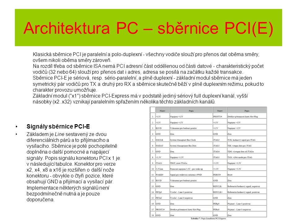 Signály sběrnice PCI-E Základem je Line sestavený ze dvou diferenciálních párů a to příjímacího a vysílacího. Sběrnice je poté pochopitelně doplněna o