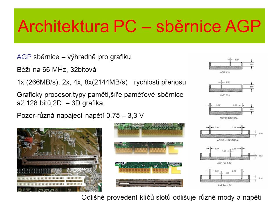 Architektura PC – sběrnice AGP AGP sběrnice – výhradně pro grafiku Běží na 66 MHz, 32bitová 1x (266MB/s), 2x, 4x, 8x(2144MB/s) rychlosti přenosu Grafi