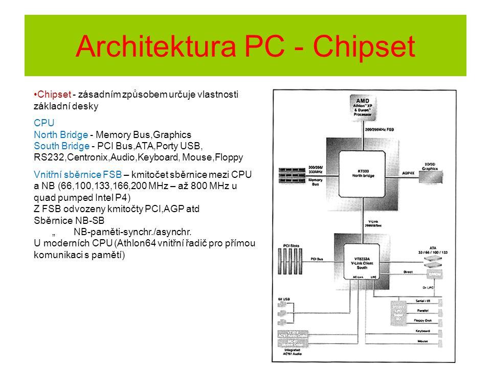 Architektura PC - Chipset Chipset - zásadním způsobem určuje vlastnosti základní desky CPU North Bridge - Memory Bus,Graphics South Bridge - PCI Bus,A