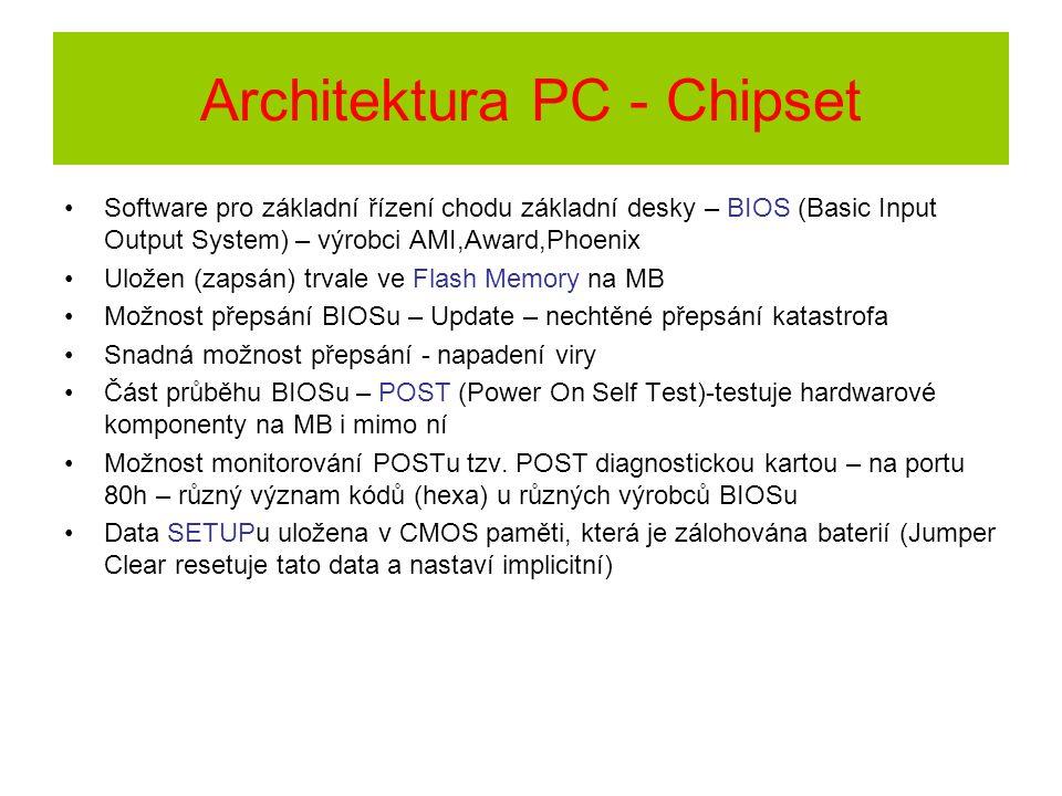 Architektura PC - Chipset Software pro základní řízení chodu základní desky – BIOS (Basic Input Output System) – výrobci AMI,Award,Phoenix Uložen (zap