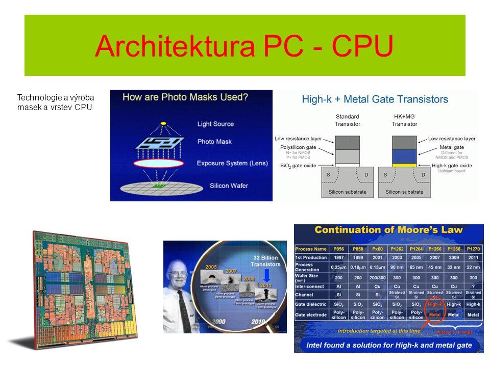 Technologie a výroba masek a vrstev CPU