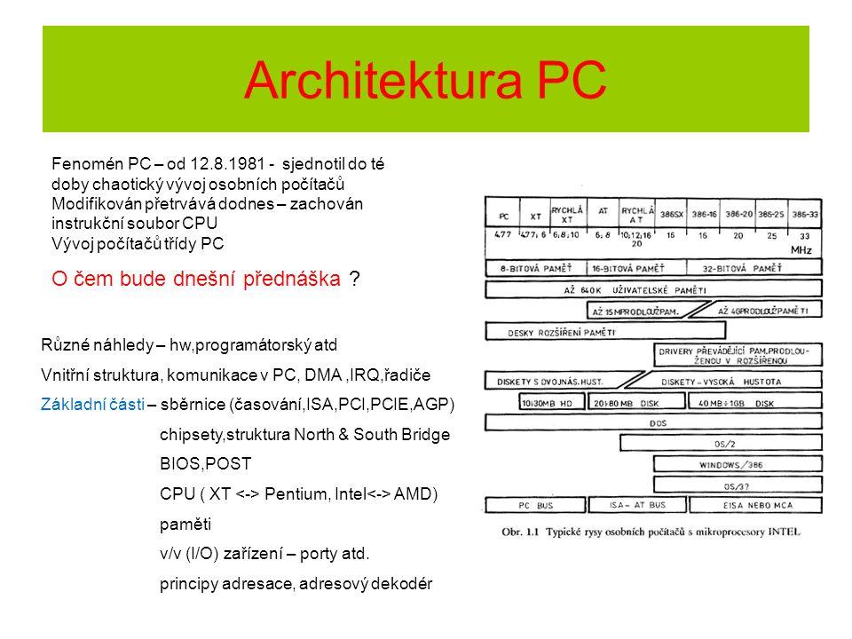Architektura PC Různé náhledy – hw,programátorský atd Vnitřní struktura, komunikace v PC, DMA,IRQ,řadiče Základní části – sběrnice (časování,ISA,PCI,P