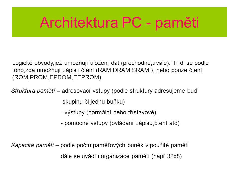 Architektura PC - paměti Logické obvody,jež umožňují uložení dat (přechodné,trvalé). Třídí se podle toho,zda umožňují zápis i čtení (RAM,DRAM,SRAM,),