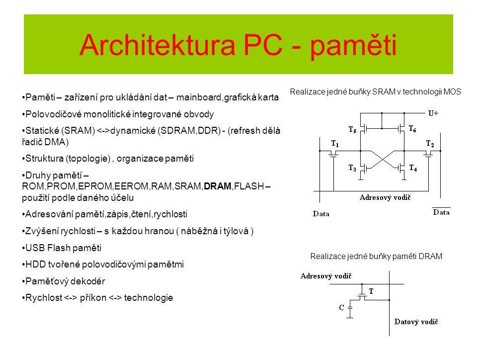 Architektura PC - paměti Paměti – zařízení pro ukládání dat – mainboard,grafická karta Polovodičové monolitické integrované obvody Statické (SRAM) dyn