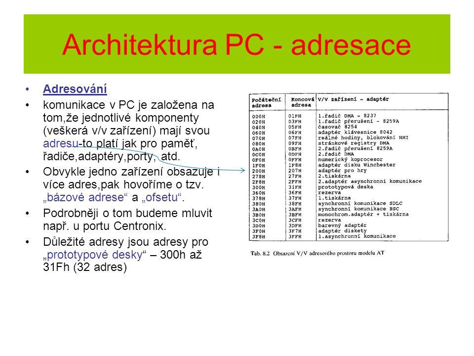 Architektura PC - adresace Adresování komunikace v PC je založena na tom,že jednotlivé komponenty (veškerá v/v zařízení) mají svou adresu-to platí jak