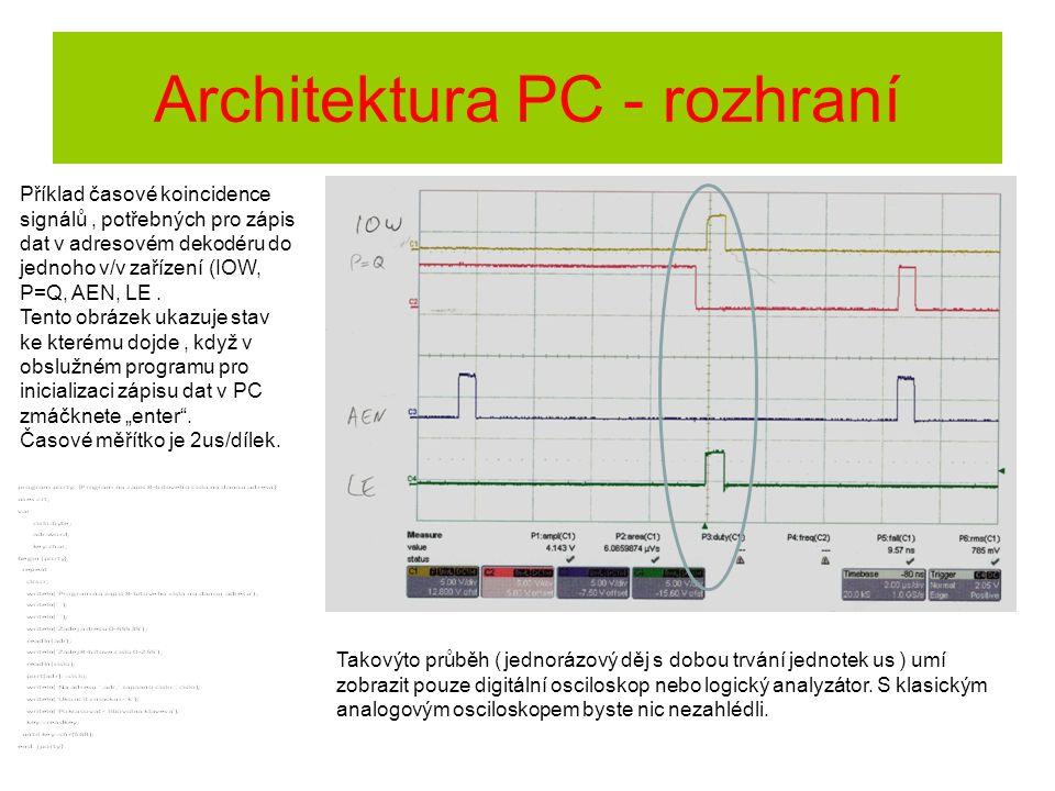 Architektura PC - rozhraní Příklad časové koincidence signálů, potřebných pro zápis dat v adresovém dekodéru do jednoho v/v zařízení (IOW, P=Q, AEN, L