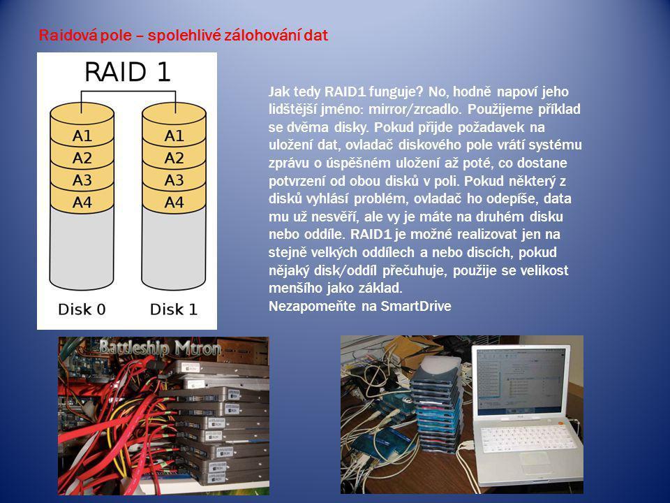 Raidová pole – spolehlivé zálohování dat Jak tedy RAID1 funguje? No, hodně napoví jeho lidštější jméno: mirror/zrcadlo. Použijeme příklad se dvěma dis