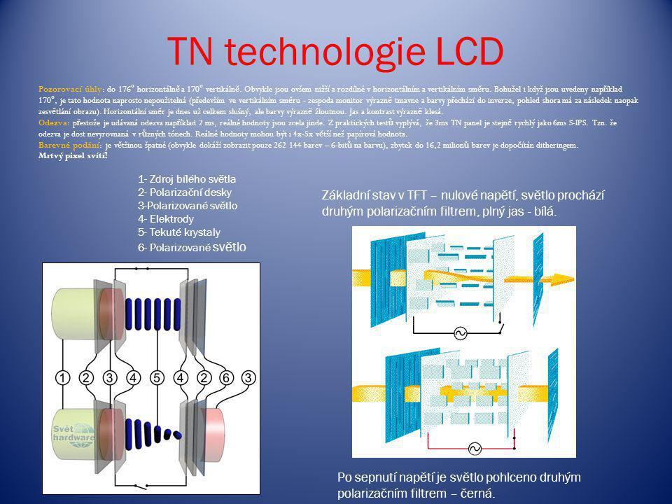 TN technologie LCD Základní stav v TFT – nulové napětí, světlo prochází druhým polarizačním filtrem, plný jas - bílá. Po sepnutí napětí je světlo pohl