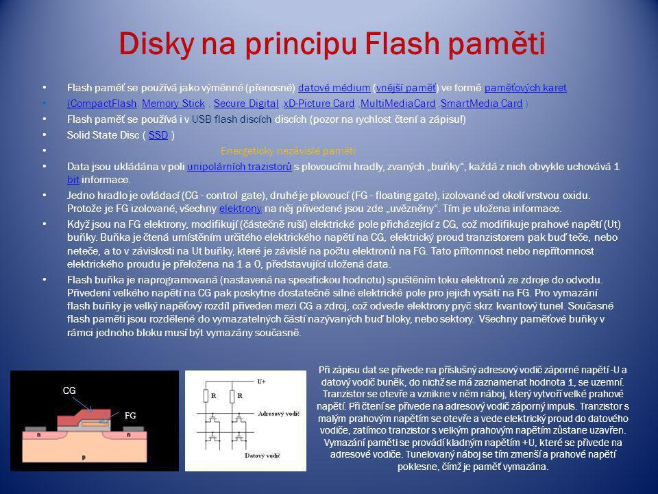Disky na principu Flash paměti Flash paměť se používá jako výměnné (přenosné) datové médium (vnější paměť) ve formě paměťových karetdatové médiumvnějš