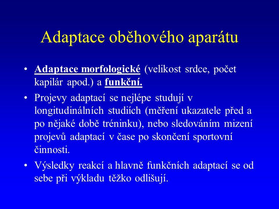 Adaptace oběhového aparátu Adaptace morfologické (velikost srdce, počet kapilár apod.) a funkční. Projevy adaptací se nejlépe studují v longitudinální