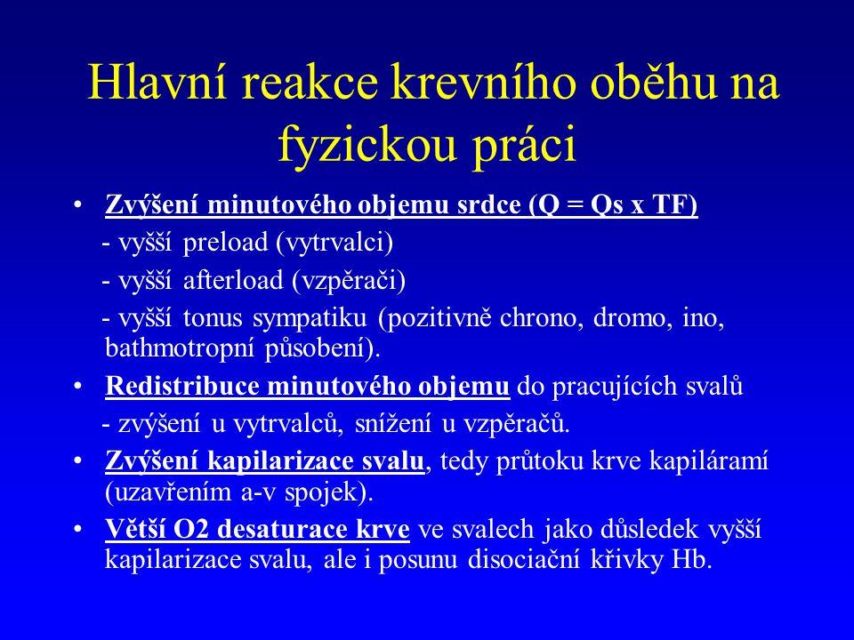 Hlavní reakce krevního oběhu na fyzickou práci Zvýšení minutového objemu srdce (Q = Qs x TF) - vyšší preload (vytrvalci) - vyšší afterload (vzpěrači)