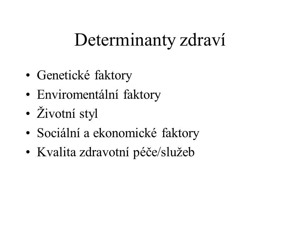 Determinanty zdraví Genetické faktory Enviromentální faktory Životní styl Sociální a ekonomické faktory Kvalita zdravotní péče/služeb