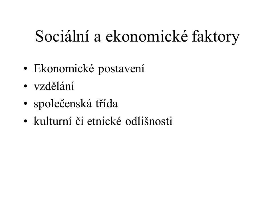 Sociální a ekonomické faktory Ekonomické postavení vzdělání společenská třída kulturní či etnické odlišnosti