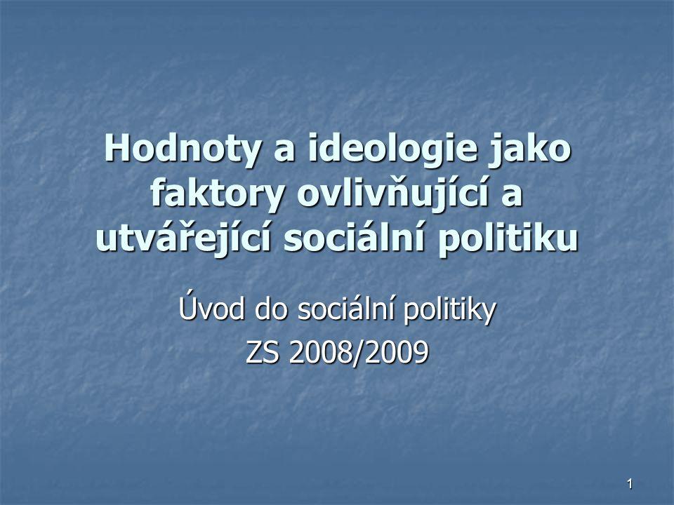 1 Hodnoty a ideologie jako faktory ovlivňující a utvářející sociální politiku Úvod do sociální politiky ZS 2008/2009